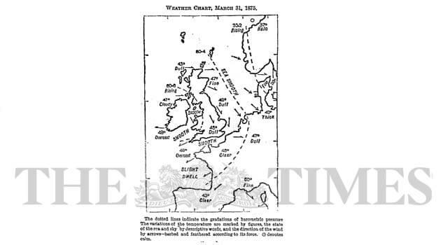 Primer mapa del tiempo en un periódico en The Times.