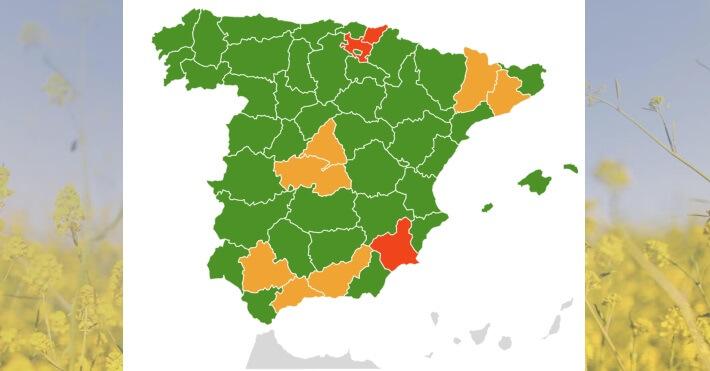 mapa alergias zonas de España con más polen