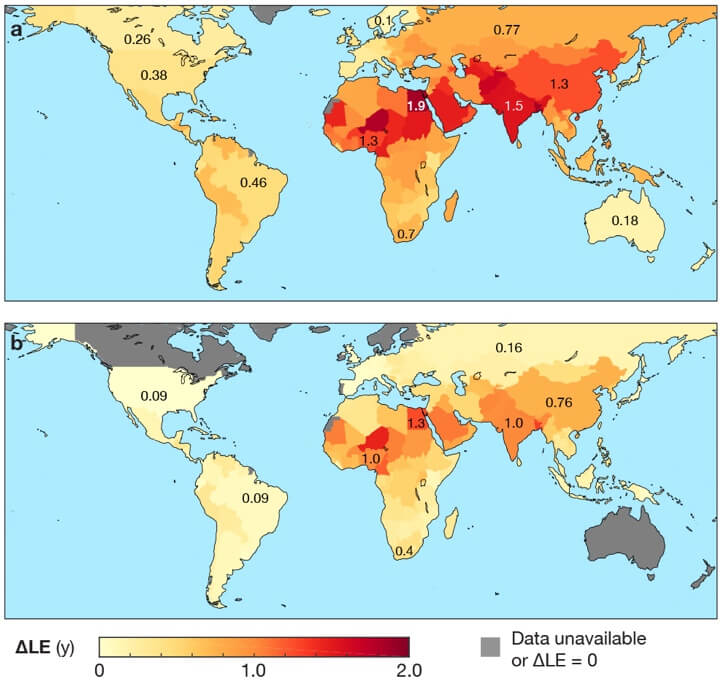 Mapa de la esperanza de vida mundial y la contaminación