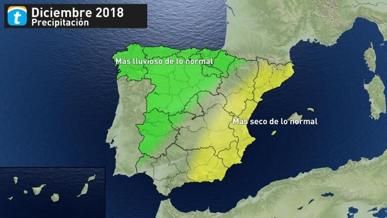 el tiempo de diciembre 2018 precipitaciones