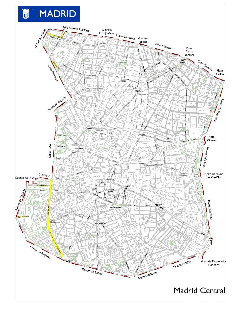 mapa de madrid central