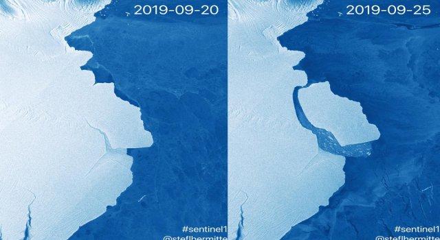 glaciar se desprende en antartida