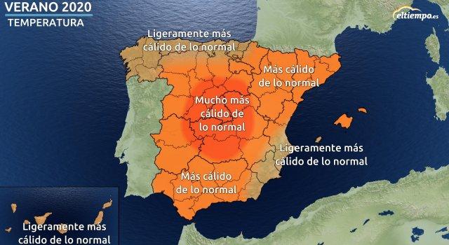 tiempo temperaturas verano 2020 prevision estacional mapa españa