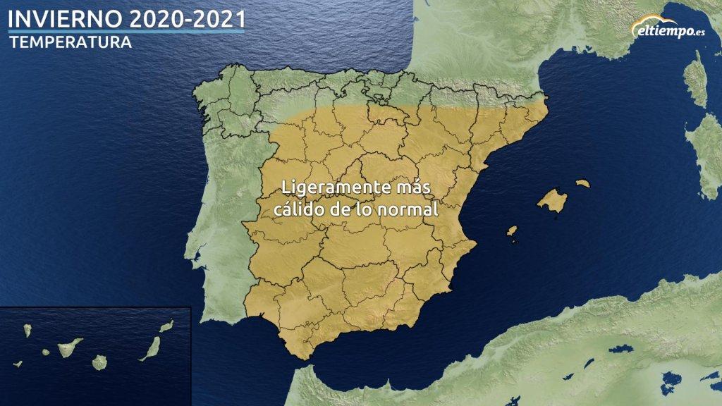 temperatura prevision invierno 2020 2021 eltiempoes