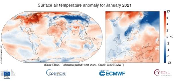 anomalia de temperatura enero 2021