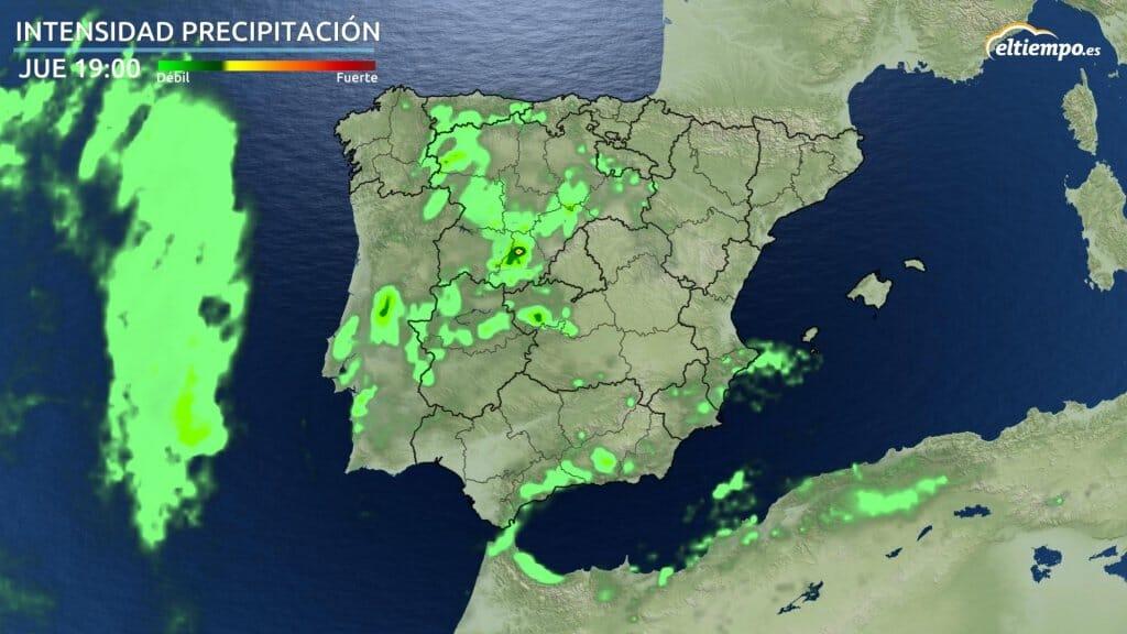 Mapa con manchas verdes de intensidad de precipitación prevista para el jueves por la tarde.