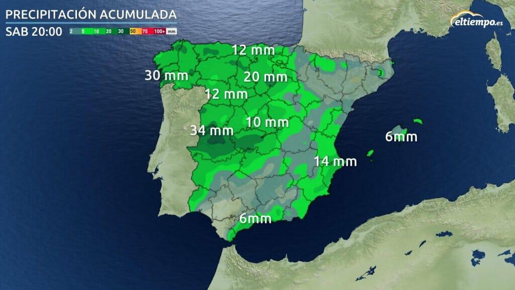 Mapa con los acumulados de precipitación prevista hasta la tarde del sábado.