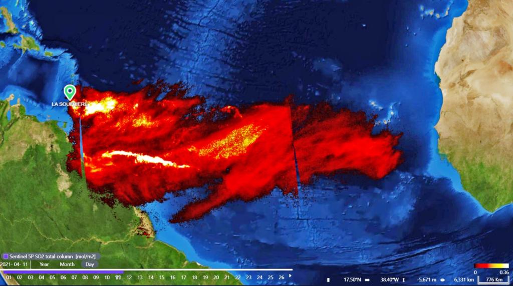 Nube de partículas tras la erupción del volcán San Vicente viajando por el Atlántico hacie el este. Copérnicus