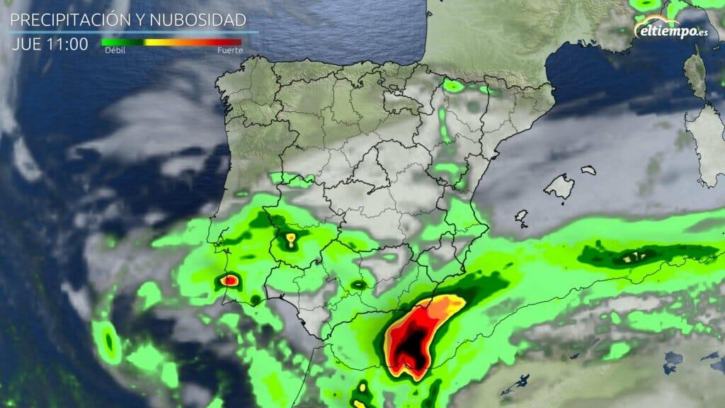 Intensidad de precipitación prevista para la mañana del jueves 15 de abril de 2021