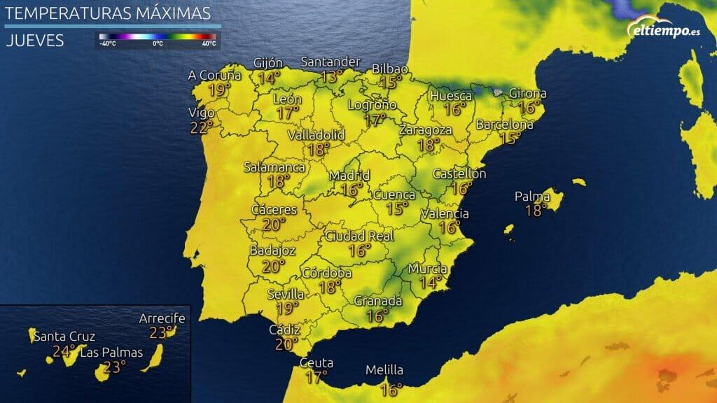 Temperaturas máximas previstas el jueves 15 de abril de 2021.