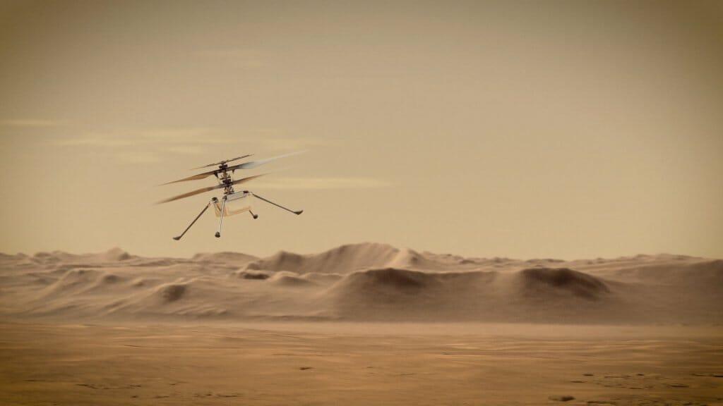 Concepto artístico del helicóptero Ingenuity sobre la superficie de Marte.