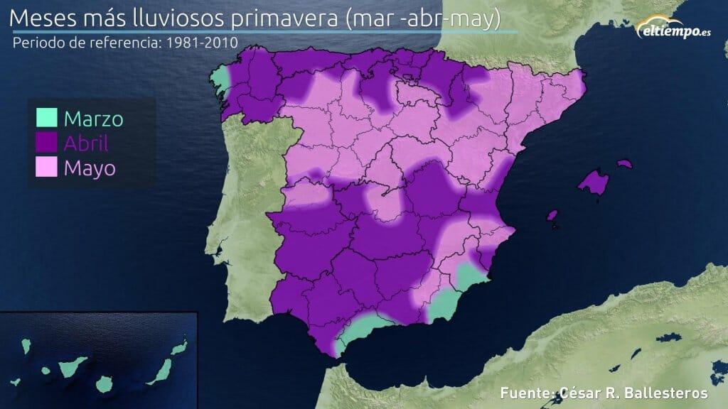 Meses más lluviosos en primavera