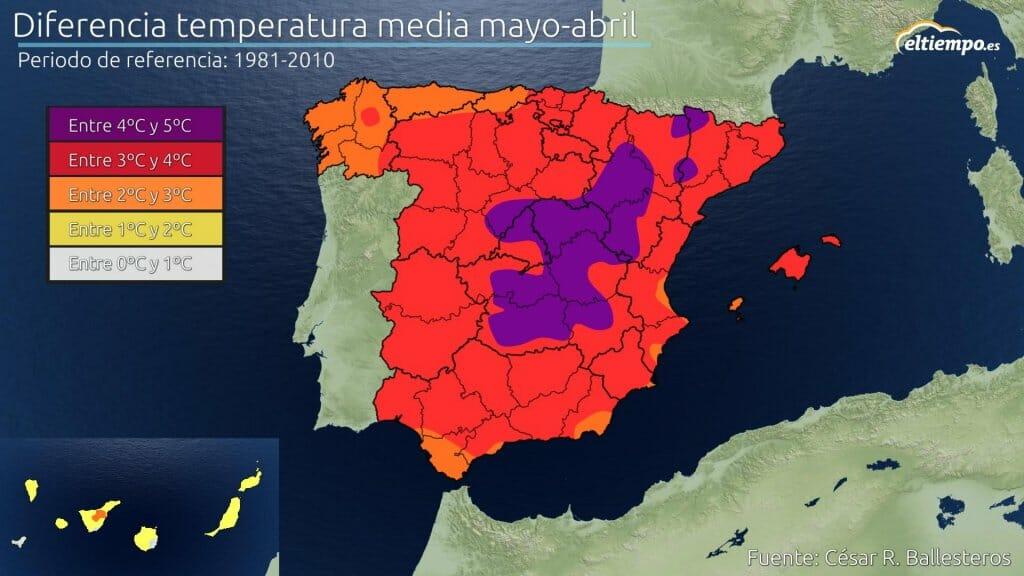 Diferencia temperatura mayo y abril