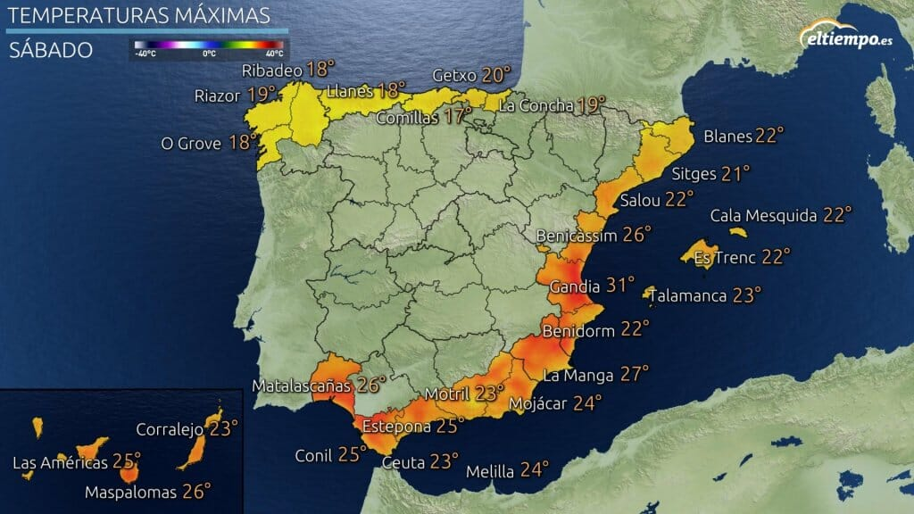 Temperaturas máximas previstas para el sábado en zonas costeras