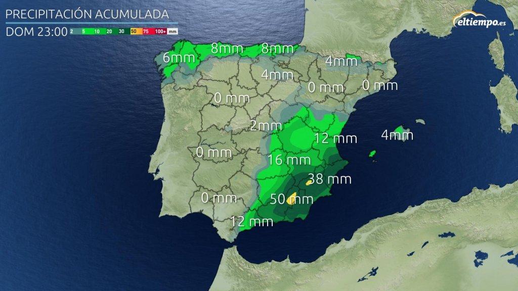 Precipitación acumulada prevista hasta la noche del domingo