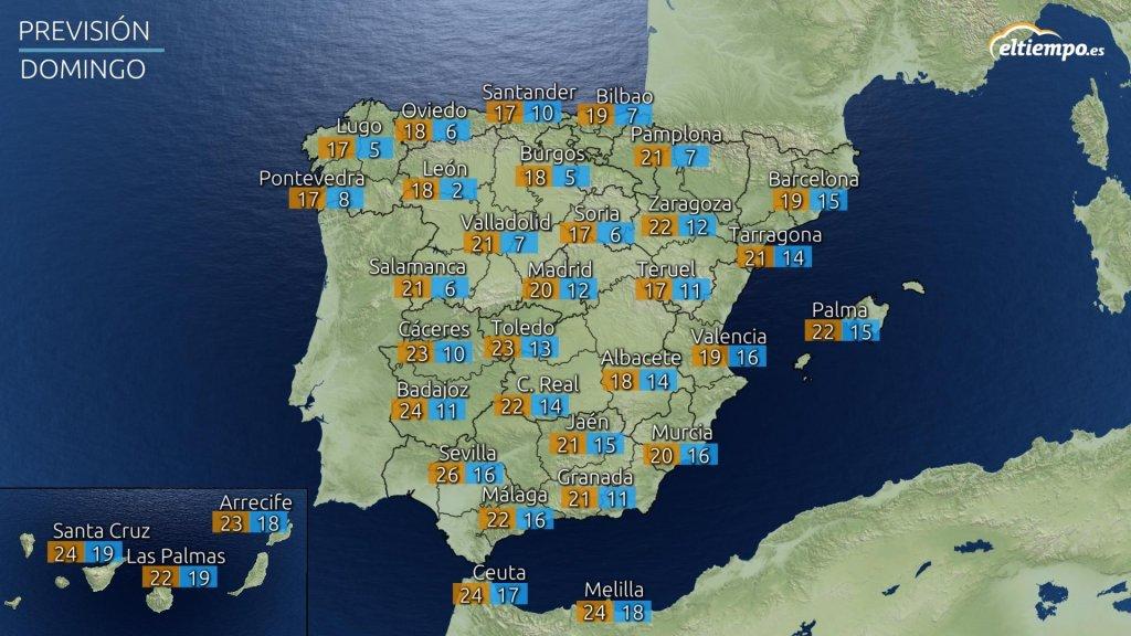 Temperaturas máximas y mínimas previstas para el domingo 23 de mayo