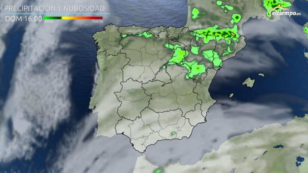 Precipitación prevista para la tarde del domingo 30 de mayo. junio con tiempo más revuelto