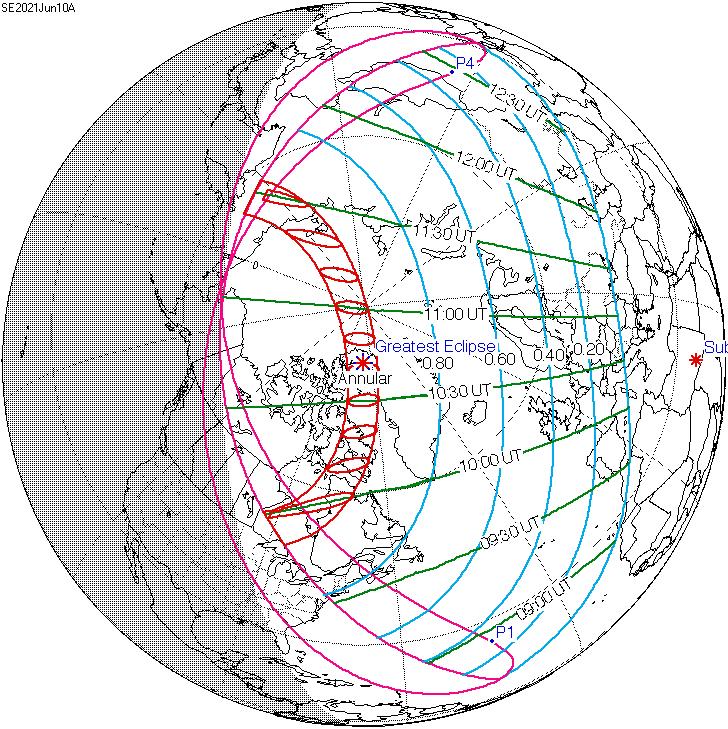 Recorrido del eclipse de sol de junio de 2021.