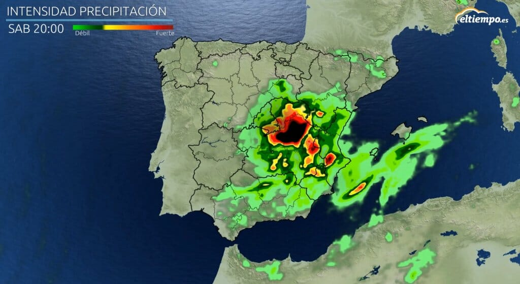 precipitaciones intensas con la DANA el sábado