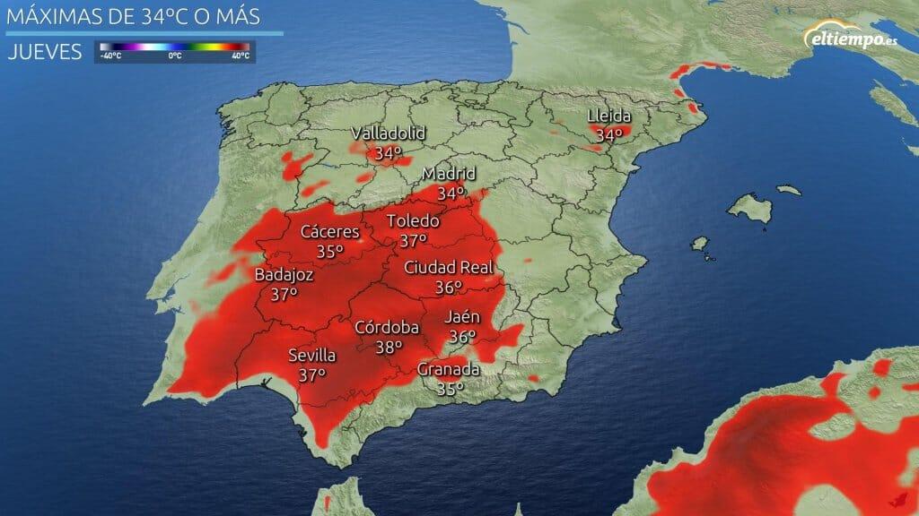 Las zonas de la península con temperaturas máximas más altas previstas para el jueves. 40ºC tras el 40 de mayo