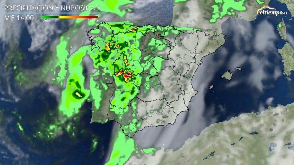 Precipitaciones previstas para las 14 horas del viernes con fuertes tormentas.