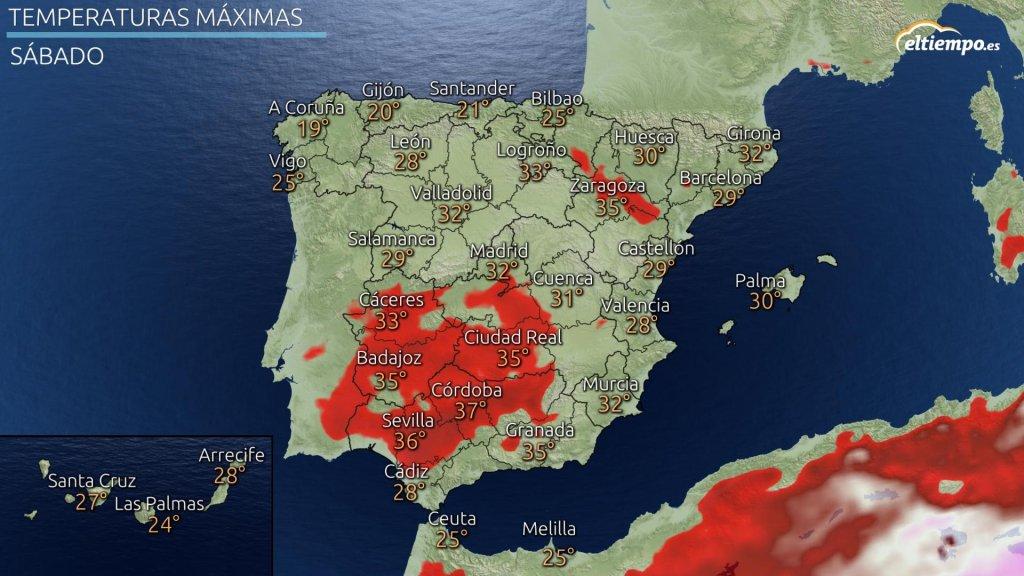 En rojo las zonas donde habrá 34ºC o más.
