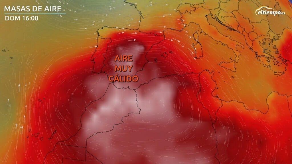 ola de calor africana Masas de aire previstas para el domingo 11 de julio 2021
