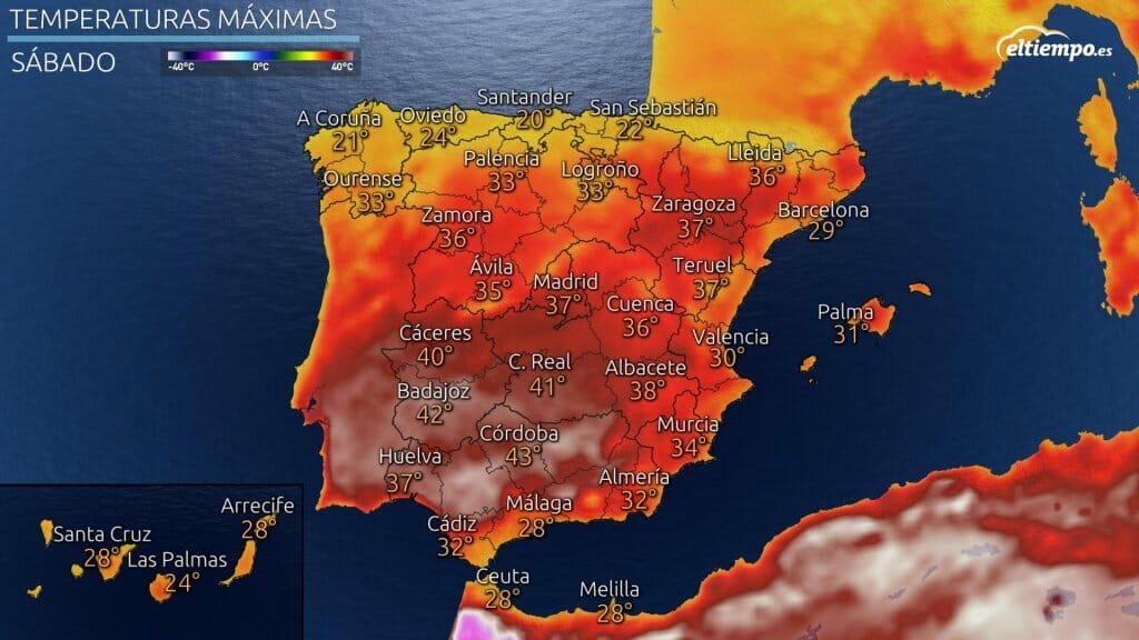 Temperaturas máximas previstas para el sábado 10 de julio de 2021 ante la posible ola de calor.
