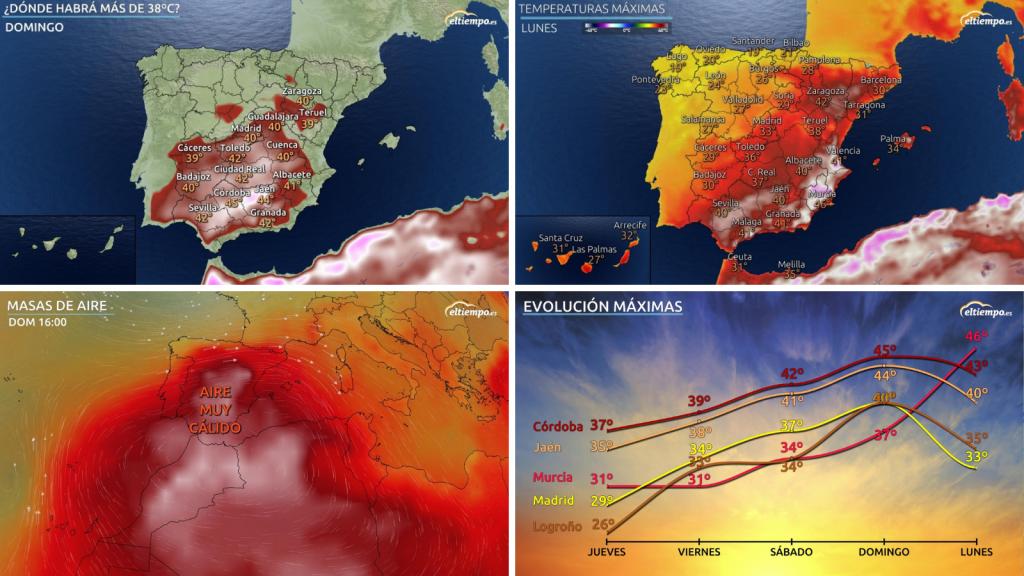 episodio de calor africano en españa. mapas de temperatura