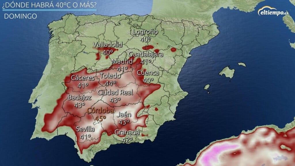 En color las zonas donde habrá máximas iguales a superiores a 40ºC el domingo 11 de julio de 2021.