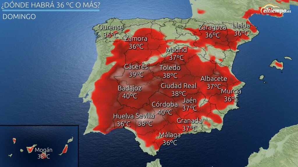 En color las zonas donde habrá 36ºC o más este sábado 17 de julio de 2021