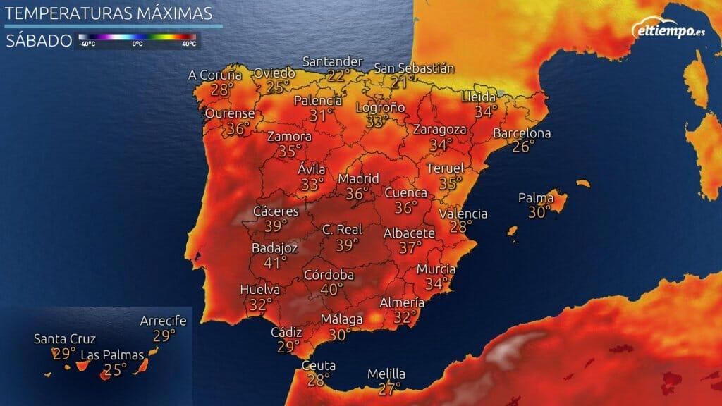 Temperaturas máximas previstas para el sábado 17 de julio de 2021.