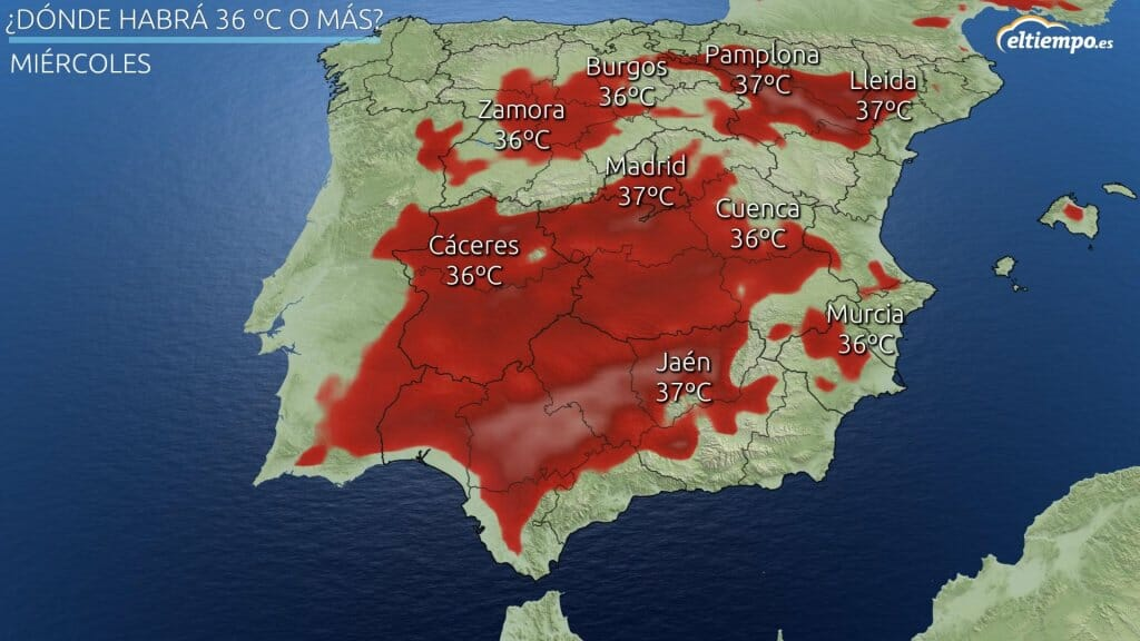 Zonas con temperaturas máximas superiores a 36ºC el miércoles 21 de julio de 2021