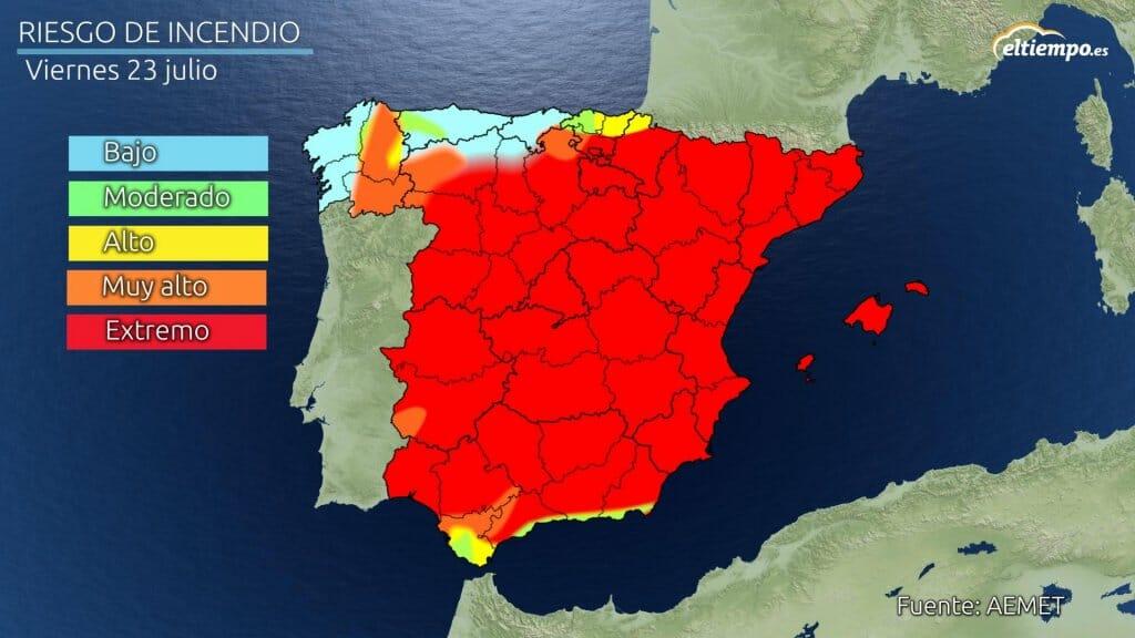 Mapa de riesgo de incendio viernes 23 de julio de 2021