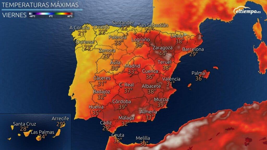 Temperaturas máximas previstas para el viernes 23 de julio