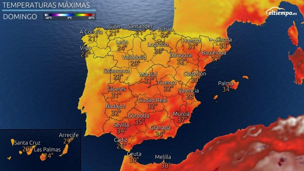 Temperaturas domingo