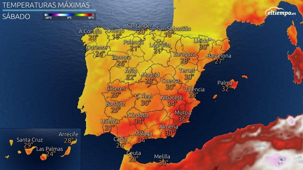 Temperaturas máximas previstas el sábado 31 de julio de 2021
