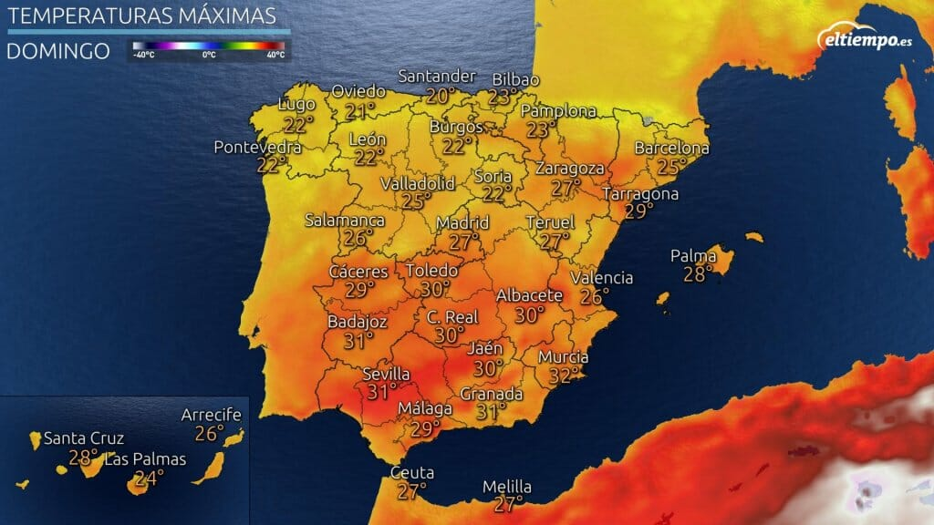 Temperaturas máximas previstas el domingo 1 de agosto de 2021