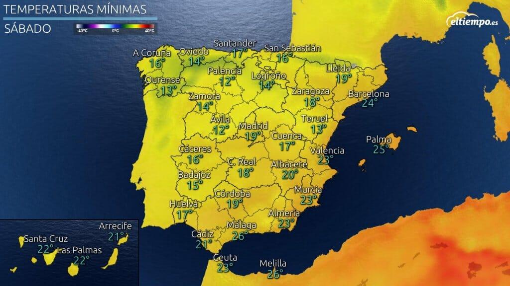 Temperaturas mínimas previstas el sábado 31 de julio