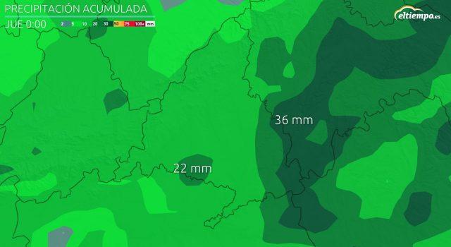 acumulado de lluvia madrid dana 2021