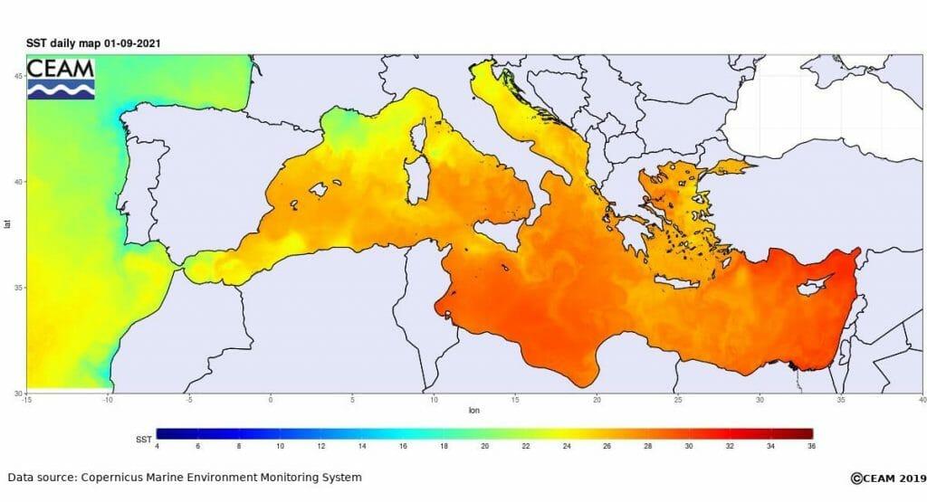 temperatura mar septiembre 2021