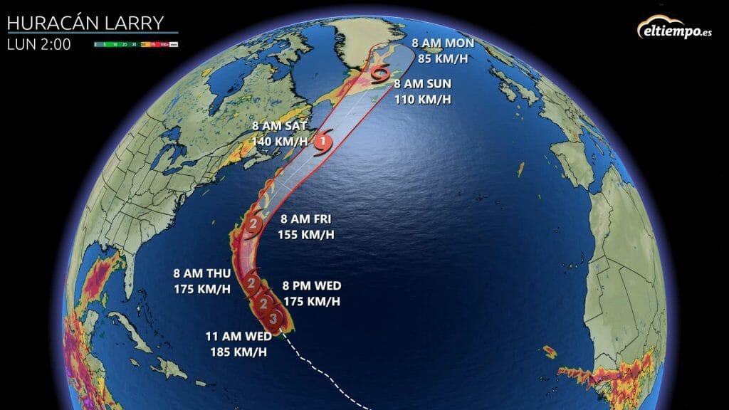 trayectoria huracán Larry