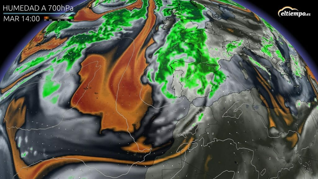 Situación de vientos ábregos: borrasca atlántica y aire con alto grado de humedad (colores verdes). Mapa: Eltiempo.es