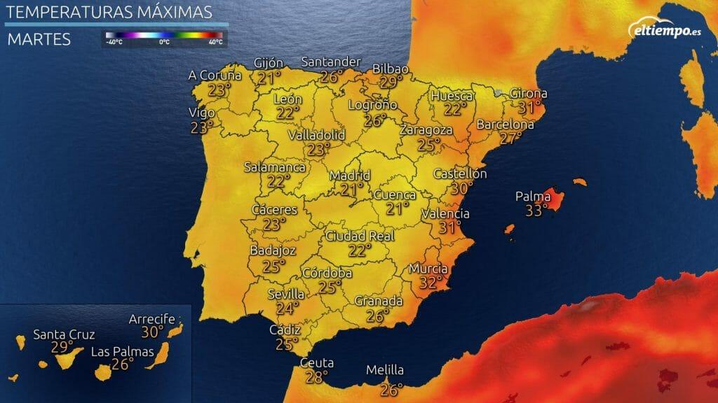 temperaturas máximas previstas el martes 14 de septiembre de 2021. Solo hará calor en el área mediterránea