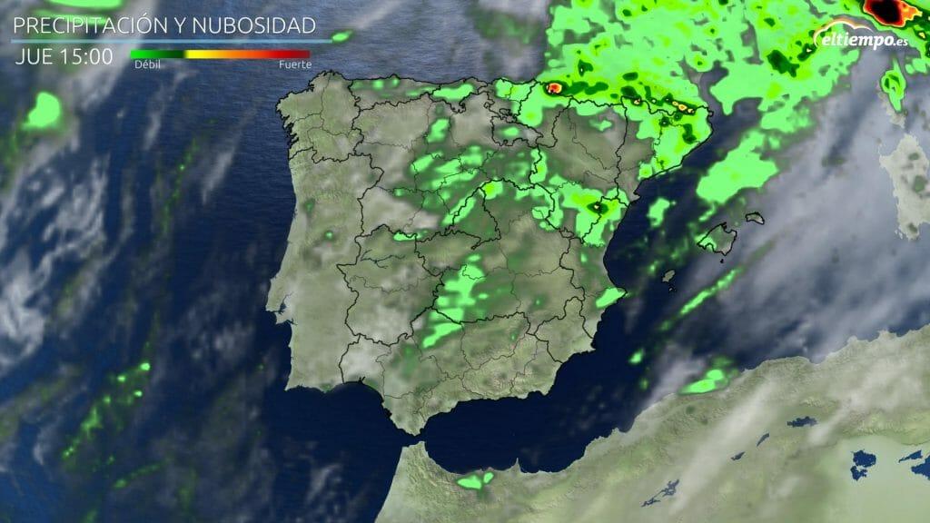Precipitaciones previstas para la tarde del jueves