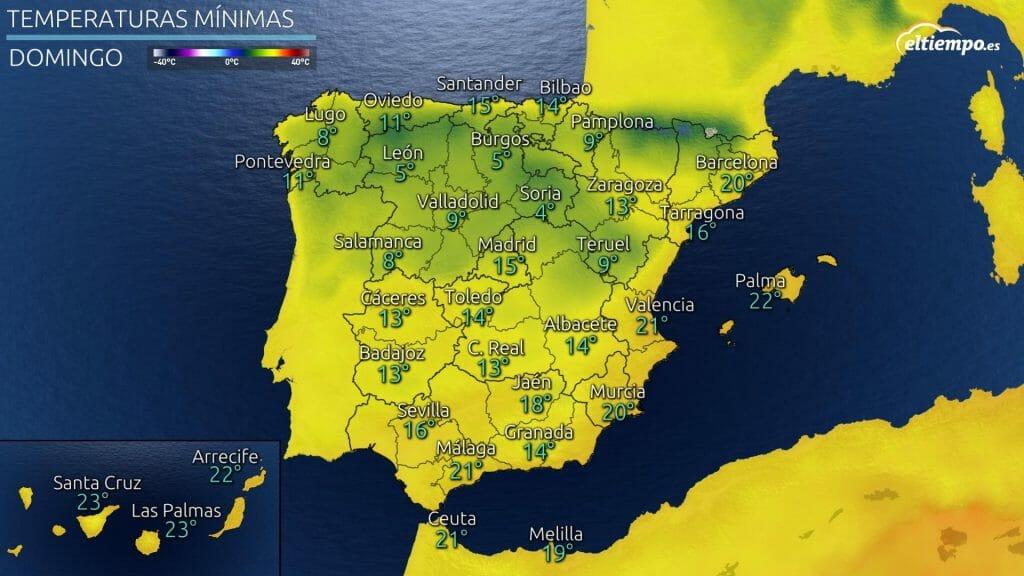 Temperaturas mínimas previstas para el domingo 19 de septiembre de 2021