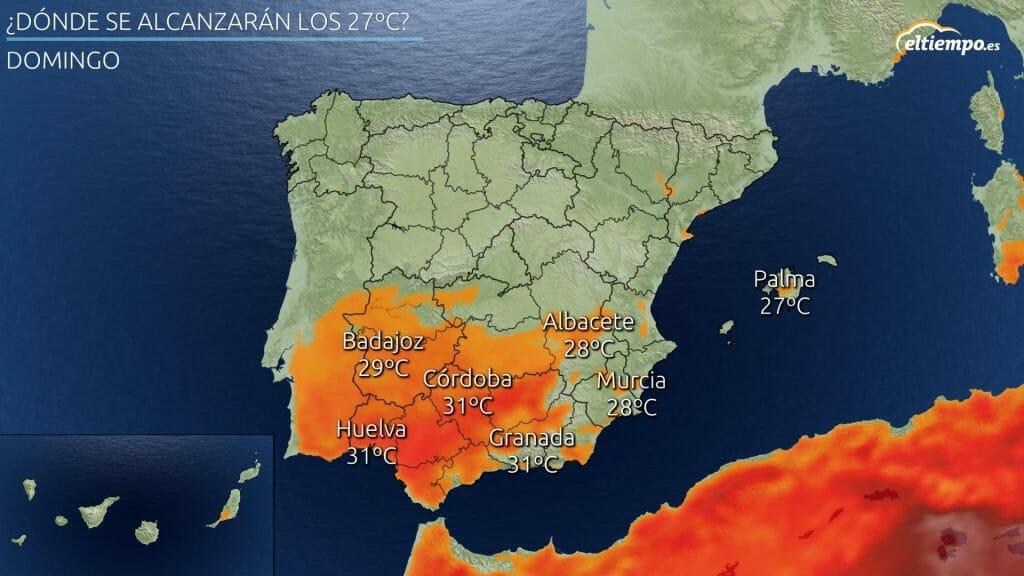 En color las zonas donde se esperan 27ºC o más este último domingo del verano 2021