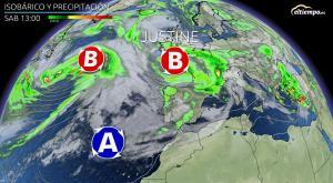 La Borrasca Justine se acerca a España: síguele la pista