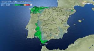 Acumulación prevista de lluvia