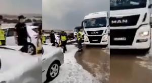 Accidente múltiple en Teruel por el fuerte granizo